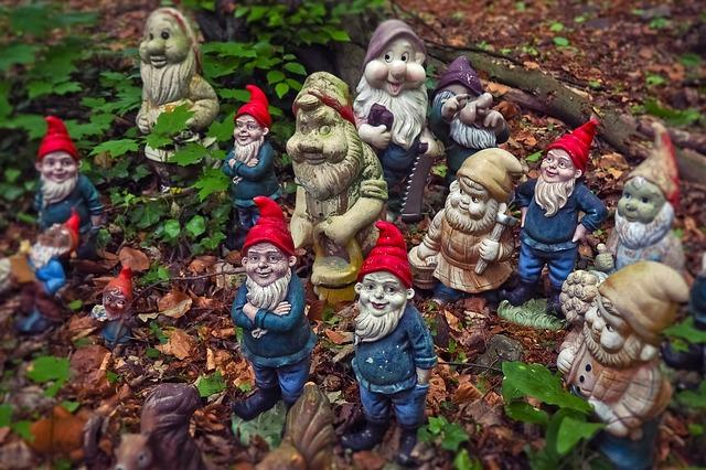 group of red and blue gnomes in garden of dead leaves