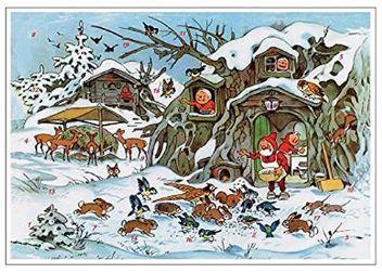 gnomes feeding animals advent calendar