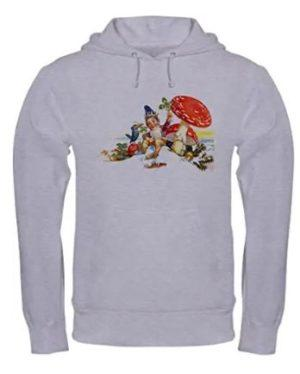 Hooded white sweatshirt with seated gnome, mushroom and crow