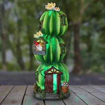 Three Stacked Resin Cactus House w/Gnome