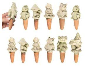 12 Pack Terracotta Self Watering Spikes for Plants Indoor Outdoor Garden Décor Gnomes