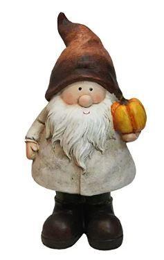 Gnome Holding Vibrant Orange Pumpkin