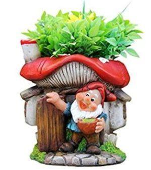 Gnome with Mushroom House Flower Pot Planter