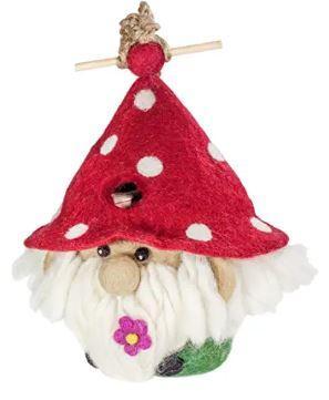 felt gnome bird house