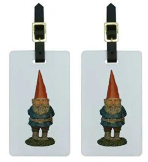 set of 2 gnome statue luggage tags with leather straps