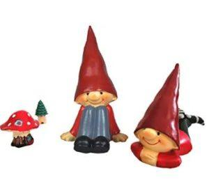 4 pc gnome boys and mushroom set