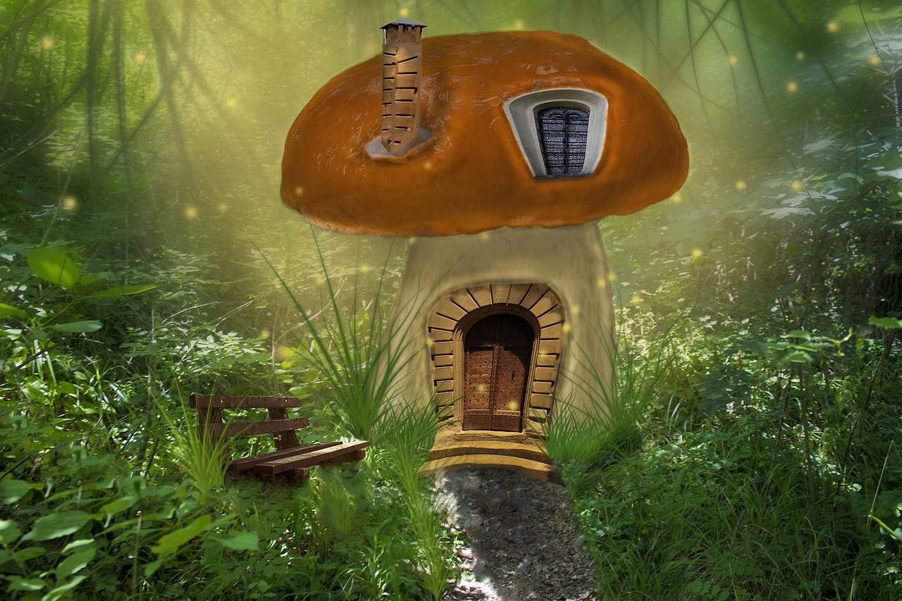 gnome home made of a mushroom